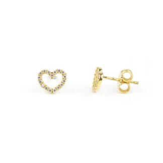 Orecchini cuore zirconi oro, orecchini bambina, ragazza e donna perno e farfallina in oro giallo tit 750 (18 kt) cuori vuoti al centro, con zirconi