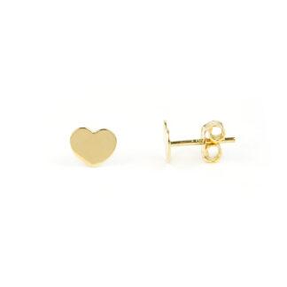 Orecchini cuore oro giallo, orecchini cuoricini bambina e donna, perno e farfallina in oro giallo tit 750 (18 kt) cuori a lastra, lucidi