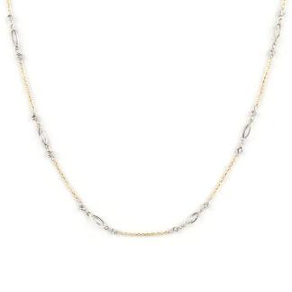 Collana bicolore in oro, collana girocollo donna in oro giallo tit 750 (18 kt) con elementi traforati in oro bianco e palline slash di 2 mm in oro bianco