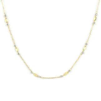 Collana oro giallo bianco, girocollo donna in oro giallo tit 750 (18 kt) con elementi lucidi in oro giallo e palline slash di 2 mm in oro bianco