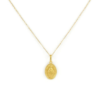 Collana madonna miracolosa oro, girocollo donna in oro giallo tit 750 (18 kt), con ciondolo madonna miracolosa massiccia; dimensione ciondolo 1,1 x 1,5 cm