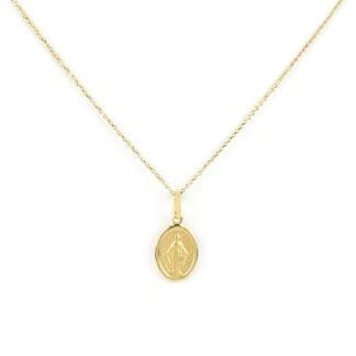 Collana madonna miracolosa oro, girocollo donna in oro giallo tit 750 (18 kt), con ciondolo madonna miracolosa vuota; dimensione ciondolo 1 x 1,5 cm