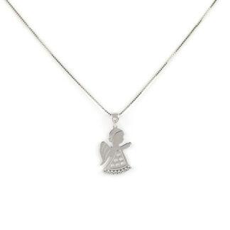 Collana angelo oro bianco, collana bambina in oro bianco tit 750 (18 kt), con ciondolo angelo con zirconi; dimensione ciondolo 1 x 2 cm
