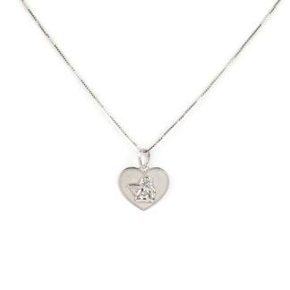 Collana cuore angelo oro, collana bambina in oro bianco tit 750 (18 kt), con ciondolo lucido e satinato, a cuore con angelo
