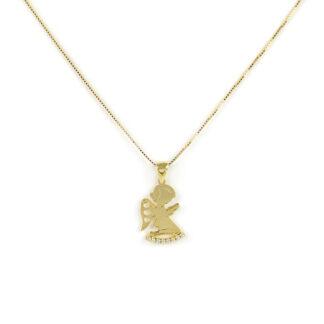 Collana angelo oro giallo, collana bambina in oro giallo tit 750 (18 kt), con ciondolo angelo con zirconi; dimensione ciondolo 1 x 2 cm