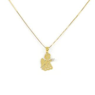 Collana angelo oro giallo, collana bambina in oro giallo tit 750 (18 kt), con ciondolo angelo con zircone; dimensione ciondolo 1 x 2 cm