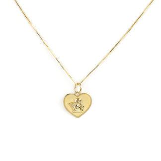 Collana cuore angelo oro, collana bambina girocollo in oro giallo tit 750 (18 kt), con ciondolo lucido e satinato a cuore con angelo