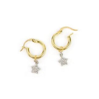 Orecchini cerchio oro stelle, orecchini a cerchio canna tonda in oro giallo tit 750 (18 kt) con ciondolo rimovibile a stella pavé di zirconi in oro bianco