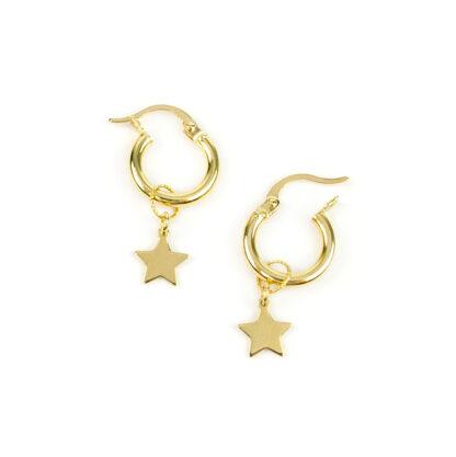 Orecchini cerchio oro stelle, orecchini bambina e donna a cerchio canna tonda in oro giallo tit 750 (18 kt) con ciondolo rimovibile stella piatta e lucida