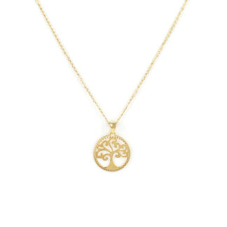 Collana albero della vita, collana donna girocollo in oro giallo tit 750 (18 kt), con ciondolo albero della vita di diametro 1,5 cm