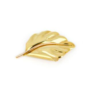 Spilla foglia oro giallo, spilla in oro giallo tit 750 (18 kt) a forma di foglia lucida e satinata, di dimensioni 3 x 5 cm