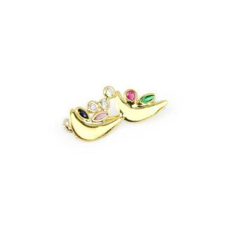 Spilla oro giallo pietre, oro tit 750 a forma di uccellini con zirconi e pietre: zaffiro blu, rubino rosso, pietre verde e rosa di laboratorio