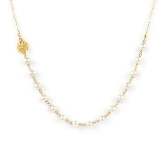 Collana centrale perle fiore, girocollo donna in oro giallo tit 750 (18 kt) con centrale di perle coltivate acqua dolce e un elemento a fiore