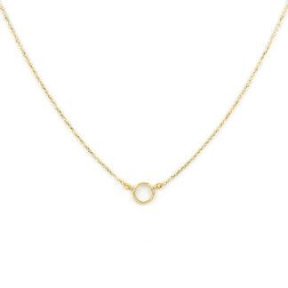 Collana cerchio oro giallo, girocollo donna in oro giallo tit 750 (18 kt) con cerchio vuoto al centro e palline slash, stile minimal