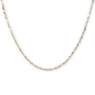 Collana oro bianco giallo, collana donna e uomo in oro bianco e oro giallo tit 750 (18 kt) catena a canna vuota, liscia e lucida
