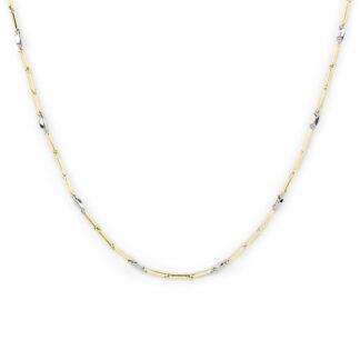 Collana bicolore oro giallo, collana bicolore donna e uomo in oro bianco e oro giallo tit 750 (18 kt) catena a canna vuota, liscia e lucida