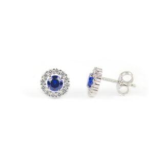 Orecchini con pietra blu, orecchini perno e farfallina in oro bianco tit 750 (18 kt), con pietra blu tonda e cornice di zirconi