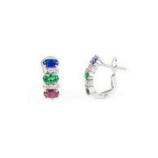 Orecchini clips oro bianco, orecchini a clips in oro bianco tit 750 (18 kt), con pietra blu, verde e rossa alternate a zirconi