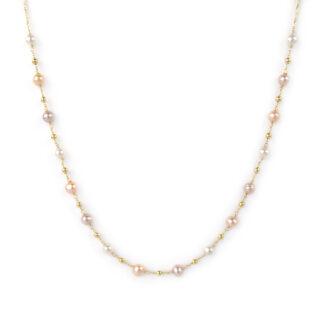 Collana perle oro giallo, girocollo donna oro giallo tit 750 (18 kt) centrale di perle bianche, rosa e bronzo alternate da palline oro giallo