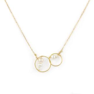 Collana cerchi oro perle, collana moderna minimal girocollo donna ragazza in oro giallo tit 750 (18 kt) con cerchi puntinati e perle
