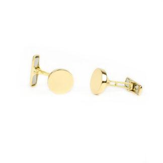 Gemelli uomo in oro giallo tit 750 (18 kt) tondi, scatolati, lisci e lucidi; chiusura tipo americano; gemelli classici ed eleganti