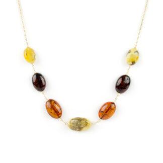 Collana oro ambra ovale, collana girocollo donna in oro giallo tit 750 (18 kt) con centrale di ambra baltica ovale di vari colori, scalare