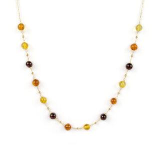 Collana oro centrale ambra, collana girocollo donna in oro giallo tit 750 (18 kt) con centrale di ambra baltica di diversi colori