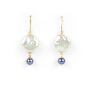 Orecchini amo oro perle, orecchini ad amo pendenti in oro giallo tit 750 (18 kt) con perle coin e perle nere