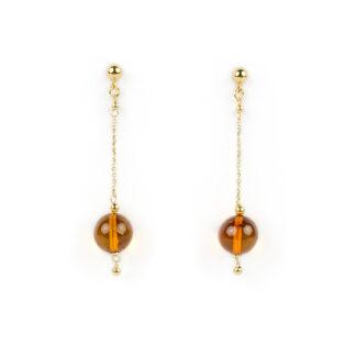 Orecchini oro ambra baltica, orecchini donna perno e farfallina pendenti in oro giallo tit 750 (18 kt) con ambra baltica di diametro 1 cm