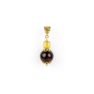 Ciondolo oro giallo ambra, ciondolo donna in oro giallo tit 750 (18 kt) con ambra baltica di due colori e due dimensioni: 1,10 cm e 6 mm