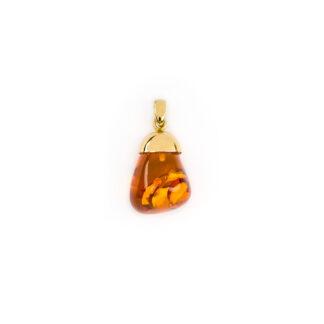 Ciondolo ambra goccia oro, ciondolo donna in oro giallo tit 750 (18 kt) con ambra baltica a forma di goccia