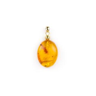 Ciondolo oro ambra ovale, ciondolo donna in oro giallo tit 750 (18 kt) con ambra baltica ovale di dimensioni 2 x 3 cm