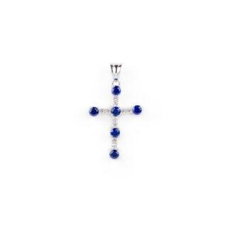 Croce oro pietre blu, ciondolo donna in oro bianco tit 750 (18 kt) modello croce con pietre blu e zirconi, di dimensione 1,5 x 2,6 cm