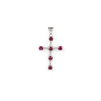 Croce donna pietre rosse, ciondolo donna in oro bianco tit 750 (18 kt) modello croce con pietre rosse e zirconi, di dimensione 1,5 x 2,5 cm