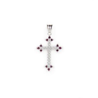Croce oro pietre rosse, ciondolo donna in oro bianco tit 750 (18 kt) modello croce con pietre rosse e zirconi, di dimensione 1,5 x 2,5 cm