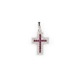 Croce oro bianco pietre, ciondolo donna in oro bianco tit 750 (18 kt) modello croce con pietre rosse e zirconi, di dimensione 1,1 x 2,2 cm