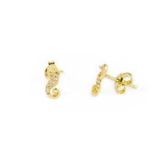 Orecchini cavalluccio marino oro, orecchini bambina perno e farfallina in oro giallo tit 750 (18 kt) cavalluccio marino con zirconi