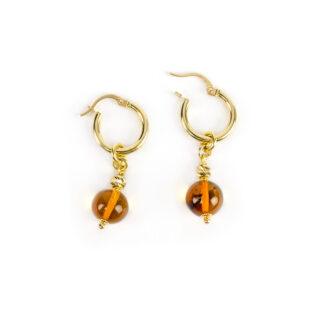 Orecchini cerchio oro ambra, orecchini cerchio in oro giallo tit 750 (18 kt) con ciondolo rimovibile composto da ambra baltica di 9 mm