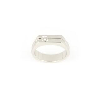 Anello uomo oro diamante, anello uomo ragazzo in oro bianco 750 (18 kt) massiccio, larghezza della testa 5,30 mm, con diamante ct 0,03