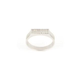 Anello uomo oro diamante, anello uomo oro bianco 750 (18 kt) massiccio lucido e satinato, larghezza della testa 4,70 mm, con diamante ct 0,01