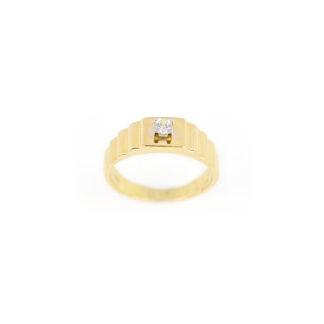 Anello uomo oro zircone, anello uomo ragazzo in oro giallo 750 (18 kt) massiccio, con zircone; larghezza della testa 6,45 mm