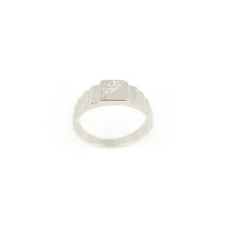 Anello uomo oro zirconi, anello uomo ragazzo in oro bianco 750 (18 kt) massiccio, con tre zirconi; larghezza della testa 6,70 mm