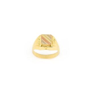 Anello mignolo uomo oro giallo 750 (18 kt) scatolato vuoto, con testa satinata a tre colori: oro giallo, oro bianco, oro rosa