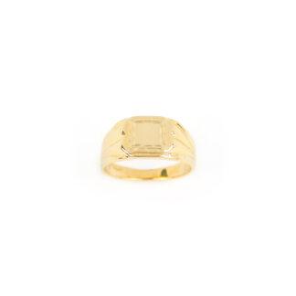 Anello mignolo uomo chevalier, anello mignolo uomo in oro giallo 750 (18 kt) massiccio, larghezza della testa 9,25 mm