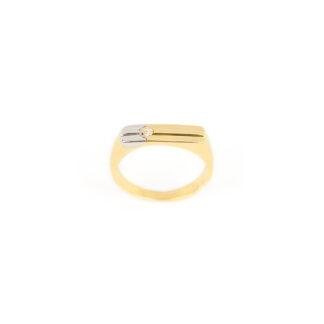 Anello uomo oro giallo, anello uomo in oro giallo e oro bianco 750 (18 kt) massiccio, con zircone; larghezza della testa 4,86 mm