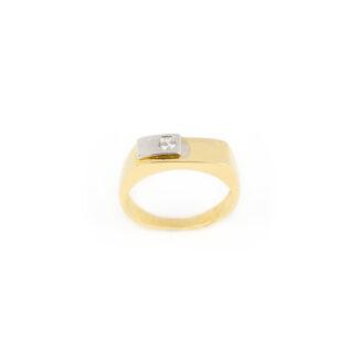Anello uomo oro zircone, anello uomo in oro giallo e oro bianco 750 (18 kt) massiccio, con zircone; larghezza della testa 5,90 mm