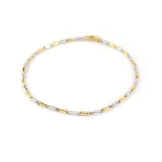 Bracciale uomo oro bicolore, oro giallo e oro bianco tit 750, lineare, catena a canna vuota, liscia e lucida, di larghezza 1,70 mm