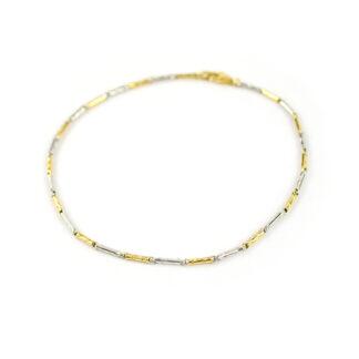 Bracciale uomo in oro giallo e bianco 750, lineare, catena a canna vuota, lavorazione lucida e rigata, di larghezza 1,50 mm