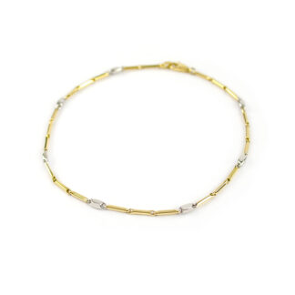 Bracciale uomo ragazzo in oro giallo e oro bianco 750, lineare, catena a canna vuota, liscia e lucida, di larghezza 1,20 mm
