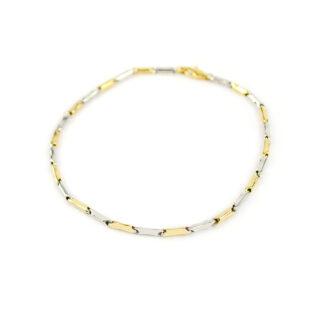 Bracciale uomo bicolore oro, bracciale in oro giallo e oro bianco 750, lineare, catena a canna vuota, liscia e lucida, di larghezza 2 mm